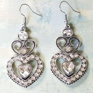 Jewelry - Heart earrings clear crystal